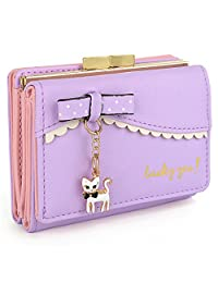 UTO Women's Wallet PU Leather Card Holder Organizer Girls Small Cute Coin Purse