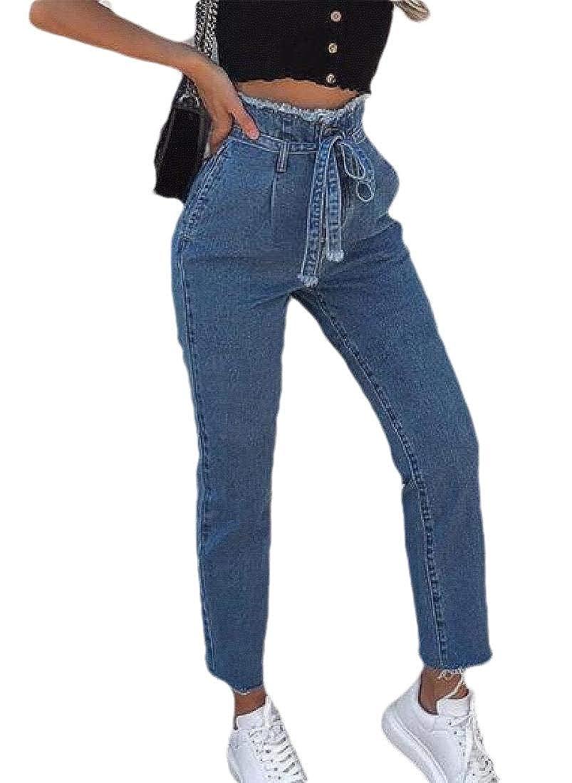 Sconosciuto Jeans da Donna sfilacciati con Orlo Grezzo e Lacci a Vita Alta