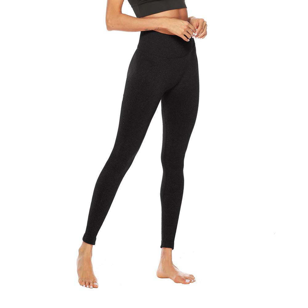 Women's Fitness Sport Capris Solid Line High Waist Workout Ruche Booty Thights Yoga Athletic Leggings (XL, Black) by FDSD Women Pants (Image #5)