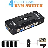 ieGeek USB KVM Switch Box + VGA USB Cables for PC Monitor/Keyboard/Mouse Control (4 Port)