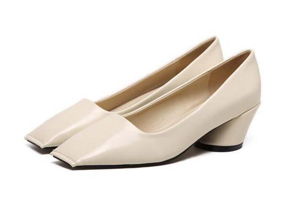 Pumpe 5cm Chunkly Heel Square Toe Mid Heel Sandalen Nude Schuhe Casual Schuhe Frauen Einfache reine Farbe OL Court Schuhe Eu Grouml;szlig;e 35-39  35|Beige