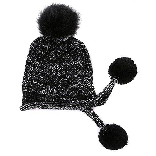 Arsmt Wool Knitting Cap Stretch Earmuffs Beanie Warm Knit Hat With Pom Ear Flaps by Arsmt