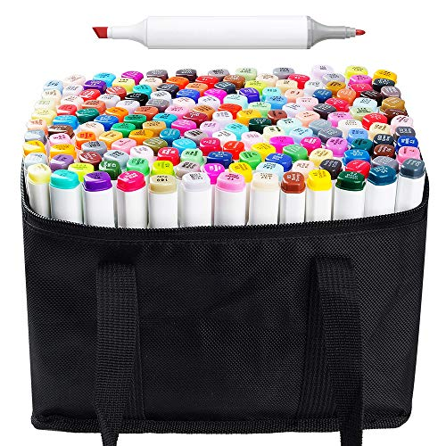 168 Set Color Graphic Drawing Painting Alcohol Art Dual Tip Sketch Pen Twin Marker Design Coloring Highlighting Underlining Set with Carry Bag