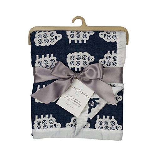 Living Textiles Muslin Jacquard Blanket, Navy Lamb