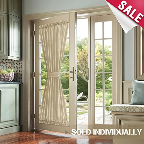 French Door Panels Privacy Faux Silk French Door Curtains 72 inch Length 1 Panel French Door Panel, Taupe, Tiebacks Included (Curtains Door French 72)
