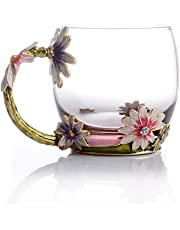 COAWG Glass Tea Cup, Lead Free Handmade Enamel Flower Clear Glass Coffee Mug with Handle, Unique Personalized Birthday Gift Ideas for Women Grandma Mom Female Friend Teachers -11oz/12oz, Blue Red Pink
