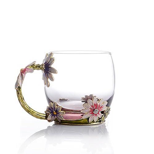 TIANG Flower Glass Tea Mug 11oz Lead Free Handmade Pink Cup With Handle
