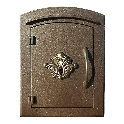 Qualarc MC-1401-BRZ Manchester Scroll Logo Door Column Mount Non-Locking Mailbox, Bronze