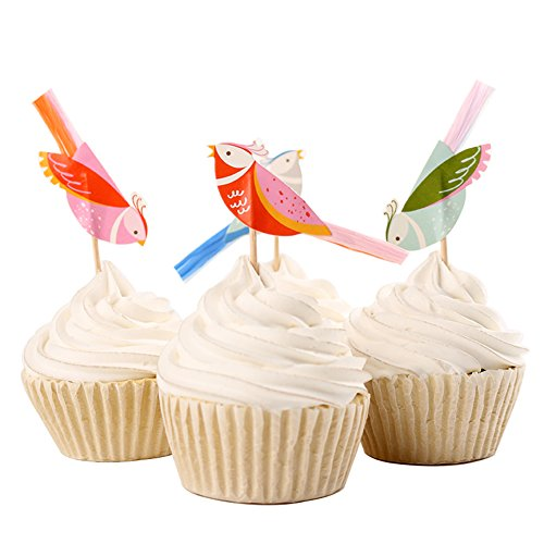 BETOP HOUSE Set of 24 Pieces Little Bird Garden Themed Cupcake Topper Picks for Baby Shower Birthday Party ()