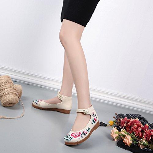 ICEGREY Damen Handgemachte Gestickte Blume Stickerei Mary Jane Prom Schuhe Beige