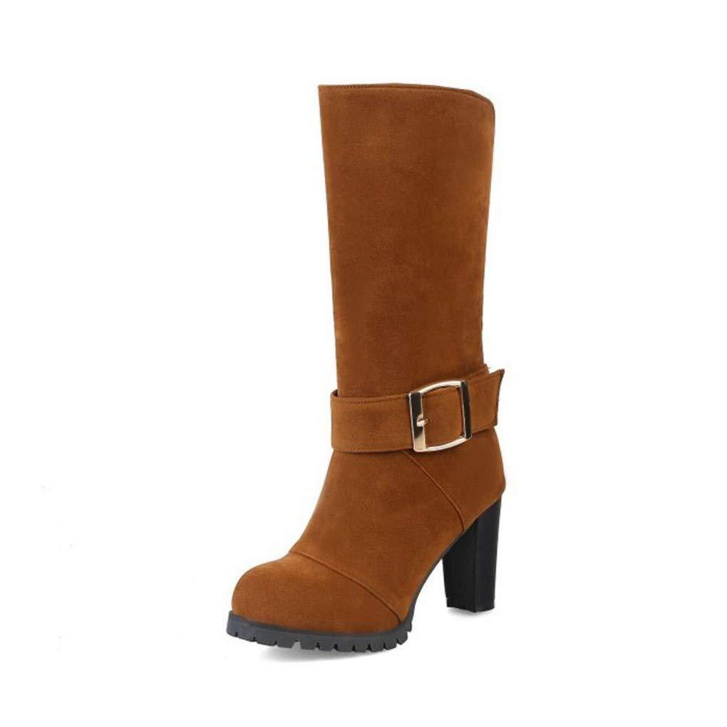 HAOLIEQUAN Vintage Frauen High Heels Stiefel Schnalle Warme Schuhe Frauen Winter  Stiefel Fashion Lady Schuhe Größe 32-44