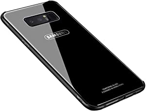 Note 8 Case,Luhuanx Samsung Galaxy Note 8 Case,Tempered Glass Back Cover+TPU Frame Hybrid Shell Slim Case for Note 8,Anti-Scratch (Drop) Note 8 case Galaxy Note 8 Case(Glass Black)