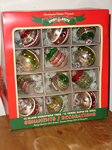 Shiny Brite 12 Glass Christmas Tree Ornaments in Vintage Designs (Vintage Shiny Brite Ornaments compare prices)
