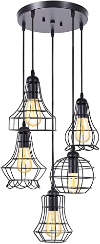 Wellmet 5-Light Farmhouse Chandelier with Black Metal Cage Shade, Adjustable Rustic Light Fixtures for Dinning Room Foyer Entryway Hallway, Pendant Light for Kitchen Island