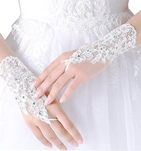 WDING Lace Fingerless Rhinestone Beaded Bridal Gloves for Wedding Prom Party (white)
