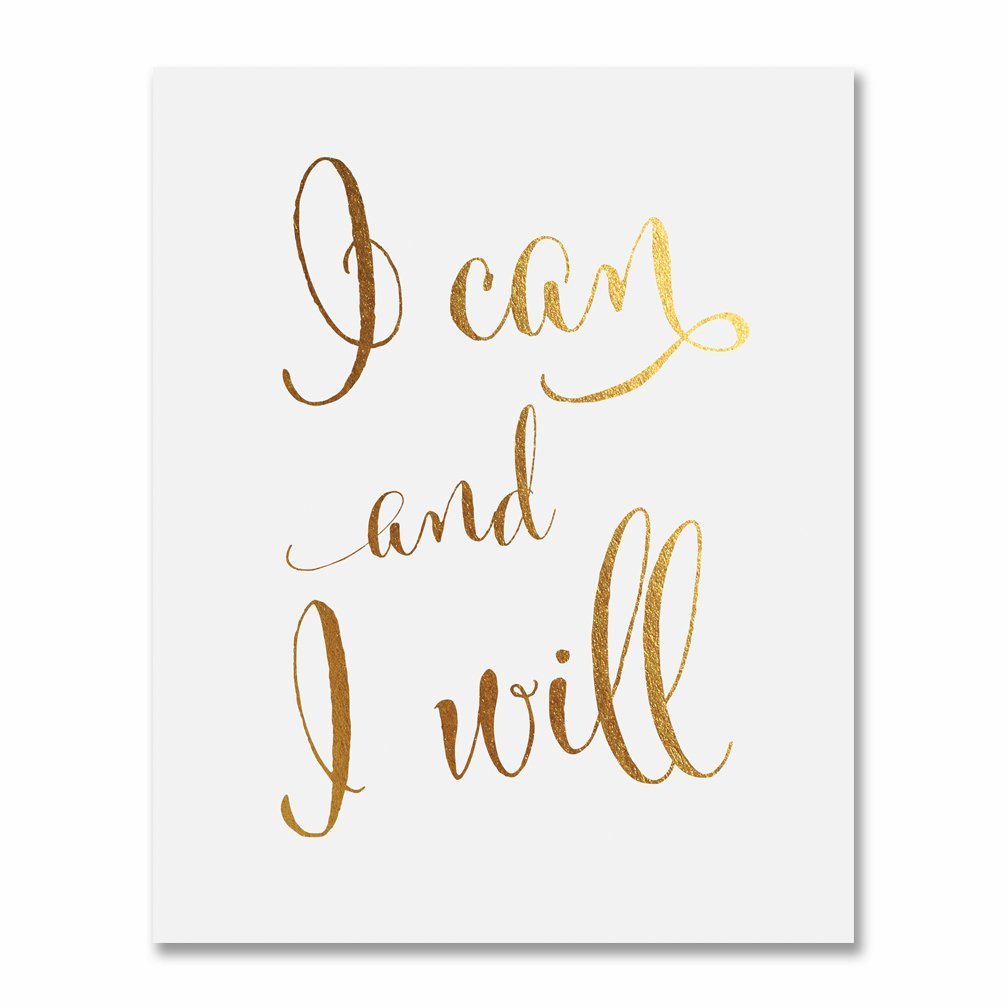 "I Can and I Will Gold Foil Print 5x7"" Calligraphy Inspirational Office Decor Art Motivational Poster D2"