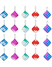 20Pcs Mini Pop Bubble Fidget Sensory Toy, Squeeze Key-Chain Toy for Adults and Kids, Simple Silicone Rainbow Stress Relief Hand Toy, Colorful Anti-Anxiety Office Desk Toys (square-20pcs)
