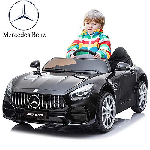 Kuntai Electric Cars for Kids, Mercedes Benz Car for Kids, 2 Seater Battery Powered Cars for Kids Black
