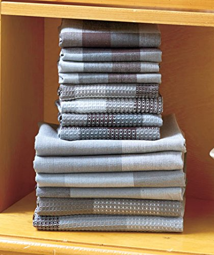 14-Pc-Charcoal-Gray-Woven-Cotton-Kitchen-Plaid-Check-Towel-Dishcloth-Sets