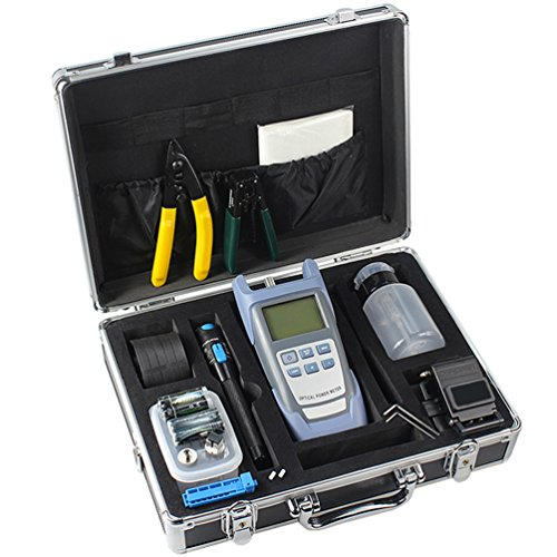 Enshey Fiber Optic FTTH Tool Kit FTTH Assembly Optical Fiber Termination Tool Kit with AUA-60S Cleaver Optical Power Meter Visual Fault Locator Finder Cable Cutter Stripper W/Box