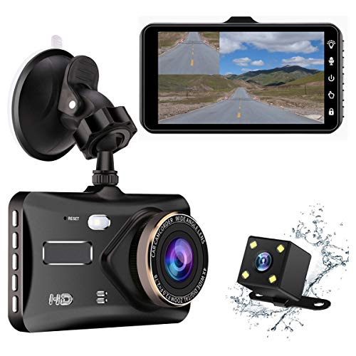Dash Cam 4″ IPS Touch Screen Dual Lens Car Dashboard Camera 1080P FHD Video Recorder and Waterproof Backup Camera, 170 Degree Wide Angle,G-Sensor,Parking Monitor, Loop Recording, Night Vision