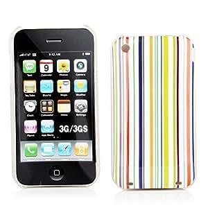 Kit Me Out ES ® Carcasa plástico + Cargador para coche + Protector de pantalla con gamuza de microfibra para Apple iPhone 3GS - Multicolor Rayas multicolor verticales