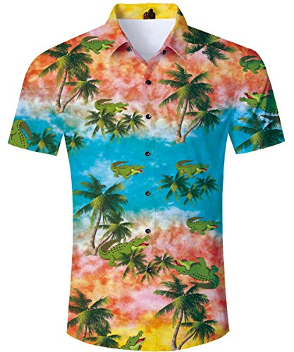 TUONROAD Funny Hot Printed Pattern Funky Cute Hawaiian Dress Polo Shirts Mens Tropical Light Green Alligator Crocodile Button Down Shirt Casual Retro Awesome Short Sleeve Beach Aloha Attire Shirt Top