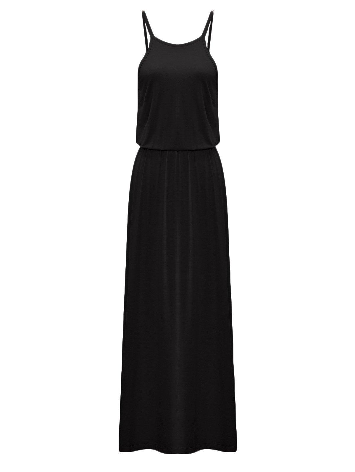 ZURIFFE Women's Summer Knitted Sleeveless Halter Maxi Dress Black M