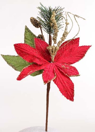Factory Direct Craft Set of 12 Festive Faux Red Poinsettia Picks with Gold Glittered Acccents for Holiday Decorating, Centerpieces and Displays