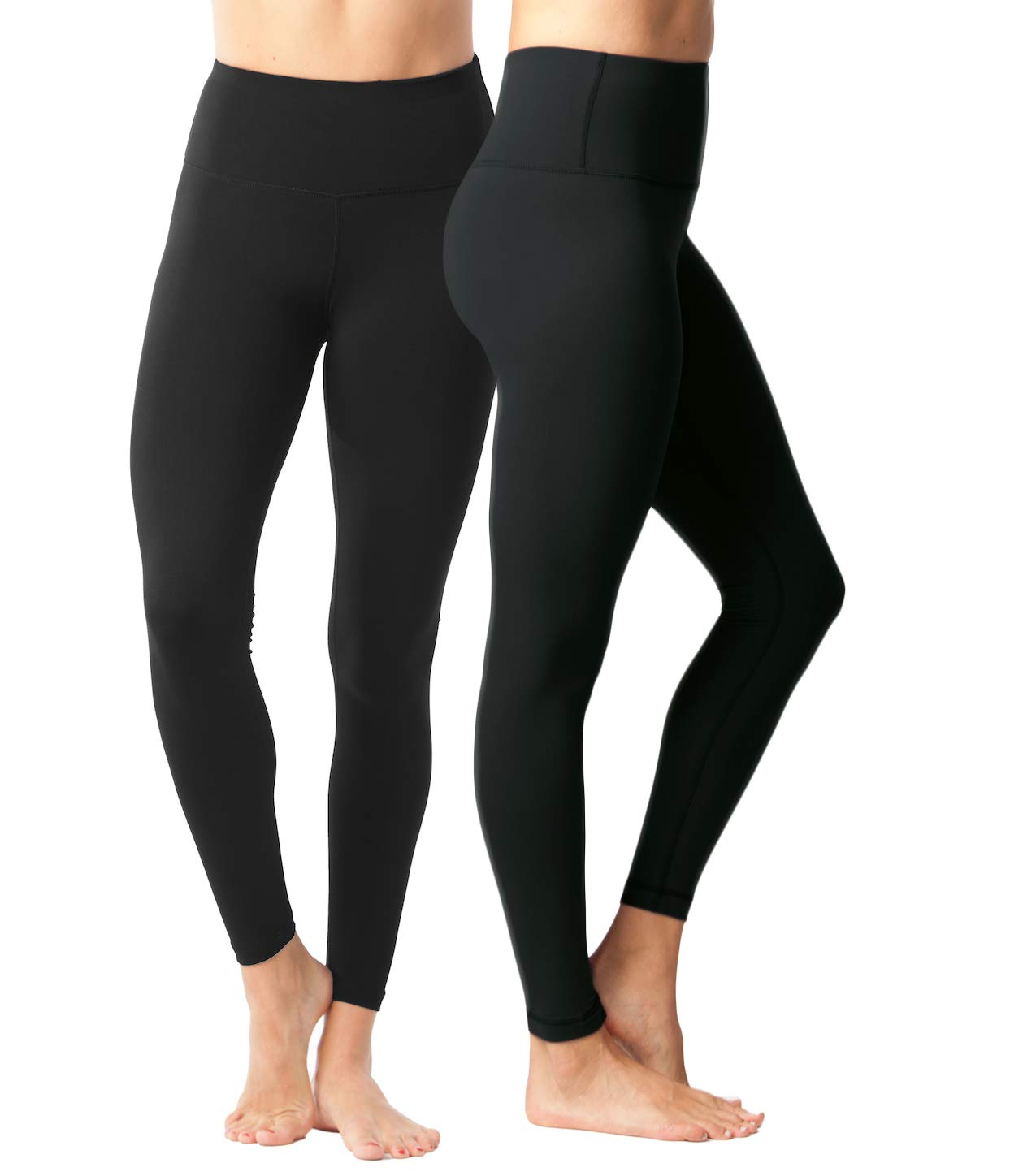 Yogalicious High Waist Ultra Soft Lightweight Leggings - High Rise Yoga Pants - 2 Pack - Black and New Olive - XS by Yogalicious