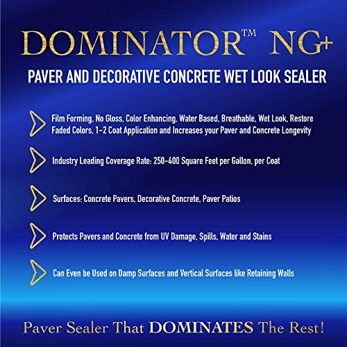 1 Gallon Dominator NG+, No Gloss Paver Sealer (Wet Look) - Commercial Grade, Water Based, Color Enhancing, Easy Application by BLACK DIAMOND COATINGS INC. (Image #1)