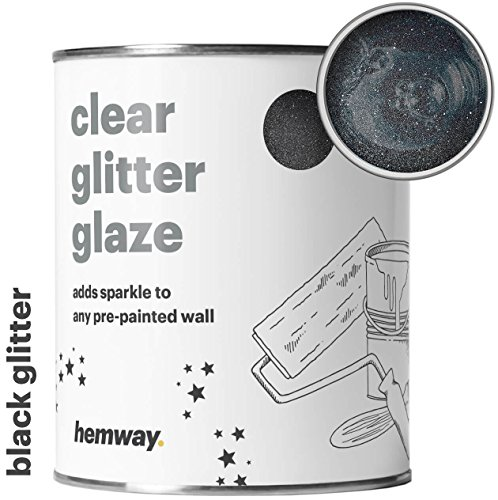 Hemway Clear Glitter Paint Glaze (Black) 1L/Quart for Pre-Painted Walls Acrylic, Latex, Emulsion, Ceiling, Wood, Varnish, Dead flat, Matte, Soft Sheen, Silk (CHOICE OF 25 GLITTER ()