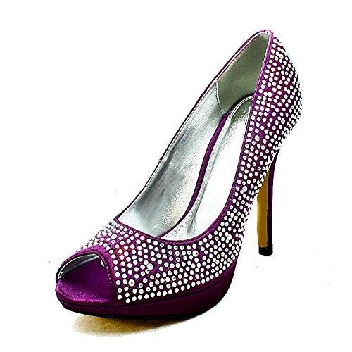 Ladies satin peep toe diamante studded high heel evening shoes Purple sSlNY4S