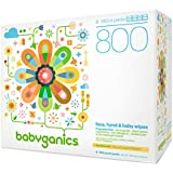 Babyganics Face, Hand & Baby Wipes, Fragrance Free, 800 Count (Contains Eight 100-Count Packs)