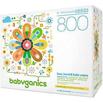 Babyganics Fragrance-Free Face, Hand and Baby Wipes, 800 wipes, Packaging May Vary