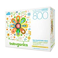 Babyganics Fragrance-Free Face Hand and Baby Wipes, 100 ct, (Pack of 8), Pack...