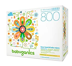 Babyganics Fragrance-Free Face Hand and Baby Wipes, 100 ct, (Pack of 8), Packaging May Vary