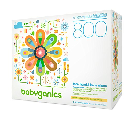 Babyganics Face, Hand & Baby Wipes, Fragrance Free, 800 ct, Packaging May Vary ()