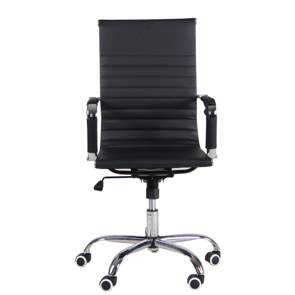 PU Leather Back Swivel Chair with Armrests for Living Office Meeting Room Cushion Gas Lift Adjustable