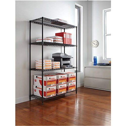 Alera Wire Shelving Starter Kit, 48w x 18d x 72h, 4 Shelves, Available in Multiple Colors