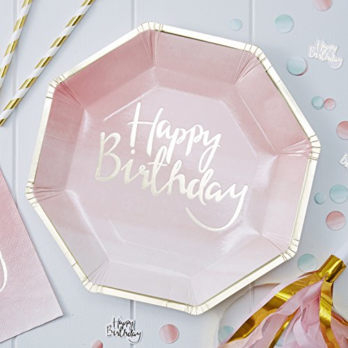 Ginger Ray PM-902 Pick and Mix Foiled Pink Ombre Happy Birthday Party Paper Plates (8 Pack), Gold, 25Cm, -