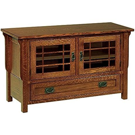 Amish Heirlooms Solid Oak Landmark TV Cabinet 18 X 49 X 29 5 Auburn Finish