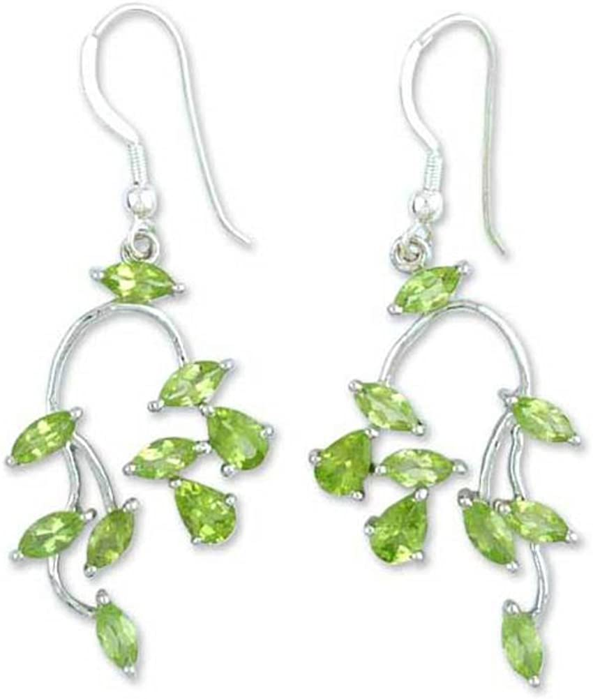 NOVICA Peridot .925 Sterling Silver Plated Hook Dangle E Outlet ☆ Free Shipping Rhodium Industry No. 1