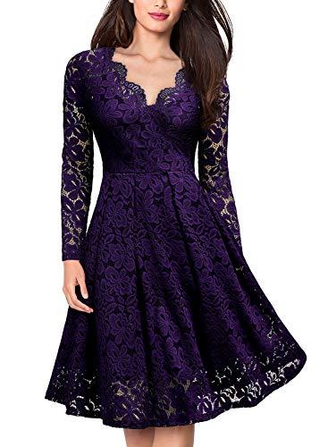 - MISSMAY Women's Vintage Floral Lace V-Neck Cocktail Formal Swing Dress