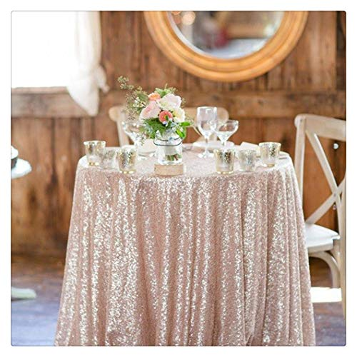 QueenDream Champagne Blush Sequin Tablecloth shimmer 50