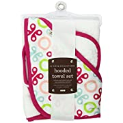 Jj Cole Two-Piece Hooded Towel Set Pink Butterfly