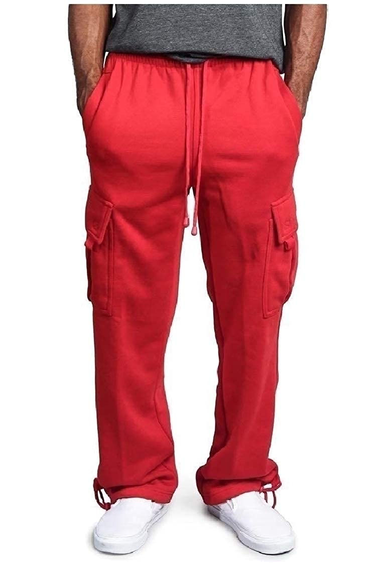 Coolred-Men Leisure Straight Big Pockets Plus Size Baggy Chino Pants Trousers