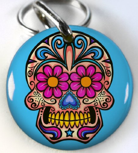 Sugar Skull Flower Pet id tag