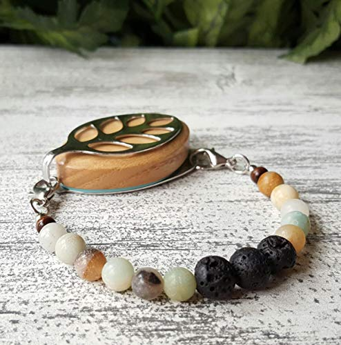 Amazonite Aromatherapy Essential Oil Bracelet - Bellabeat Leaf