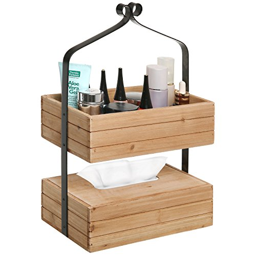MyGift Rustic Style 2-Tier Natural Wood & Black Metal Home Storage Organizer Rack/Tissue Holder Box